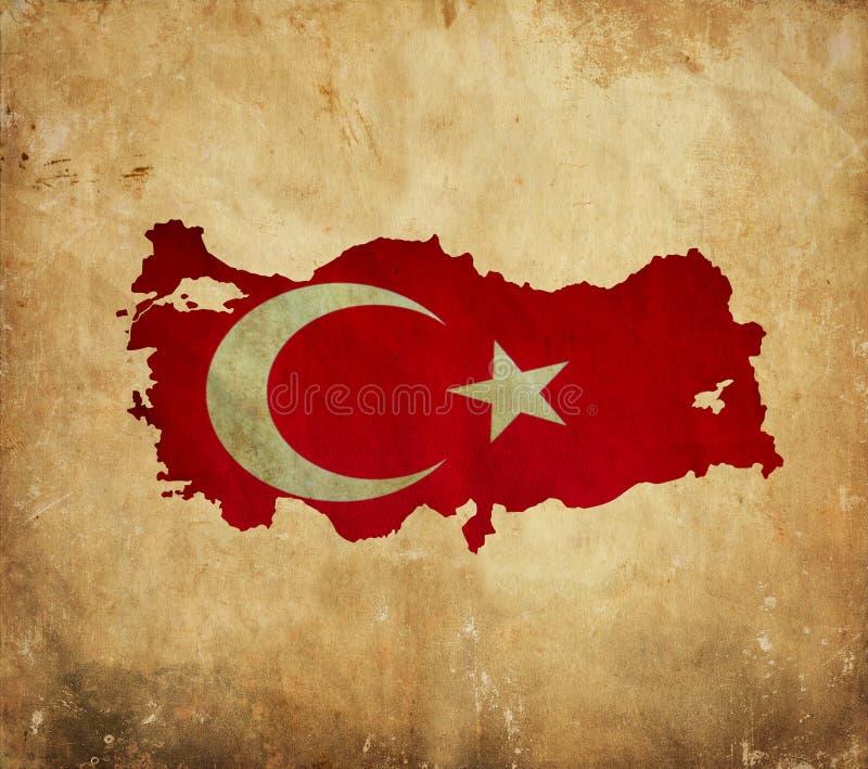 Mapa do vintage de Turquia no papel do grunge ilustração do vetor