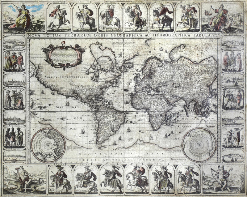 Mapa do vintage do mundo foto de stock royalty free