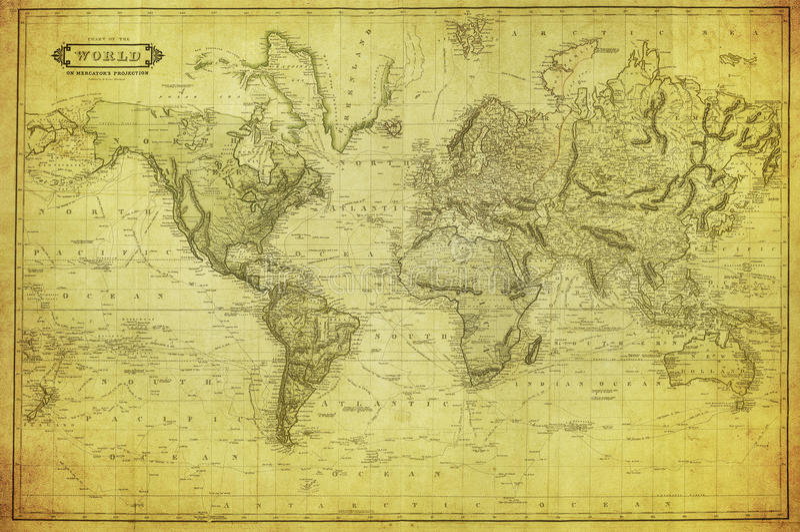 Mapa do vintage do mundo 1831 foto de stock royalty free