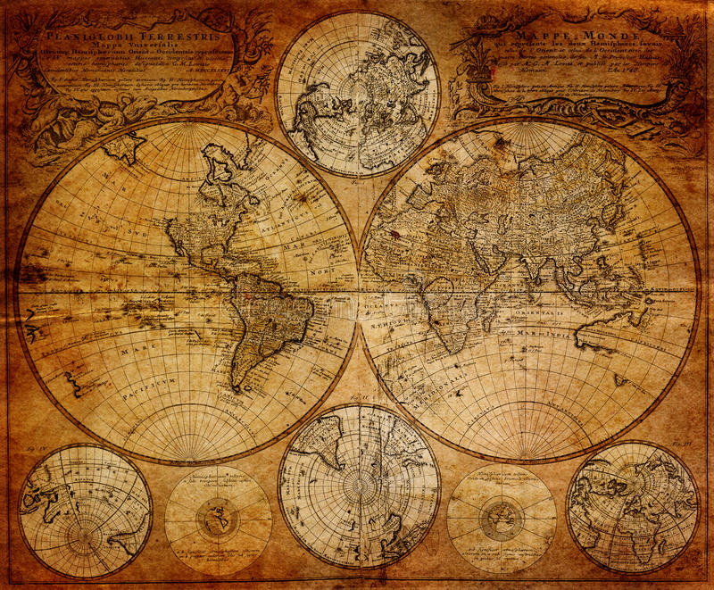 Mapa 1746 do vintage imagens de stock royalty free