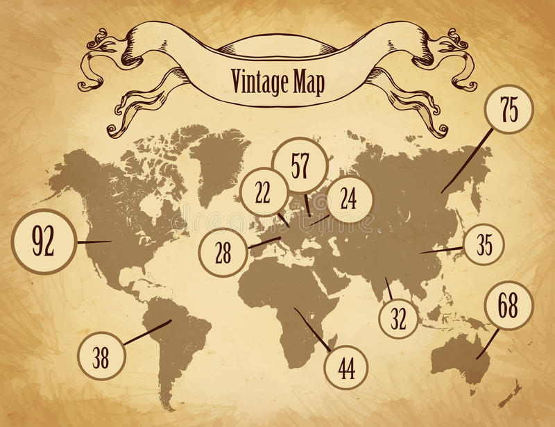 Mapa do vintage para o infographics ilustração royalty free