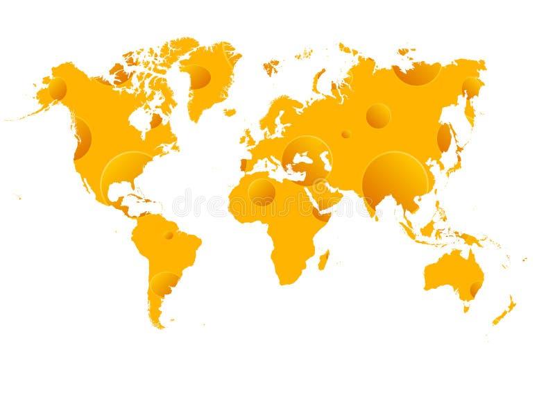 Mapa do wold do queijo ilustração do vetor