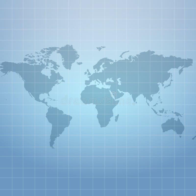 Mapa do Wold no fundo líquido azul macio ilustração do vetor