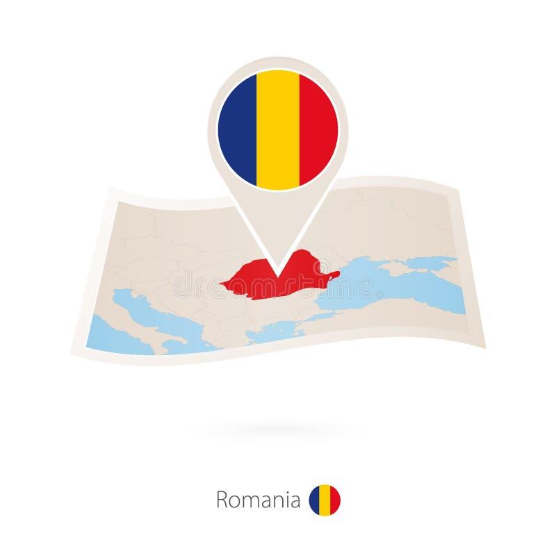 Mapa doblado del papel de Rumania con el perno de la bandera de Rumania stock de ilustración