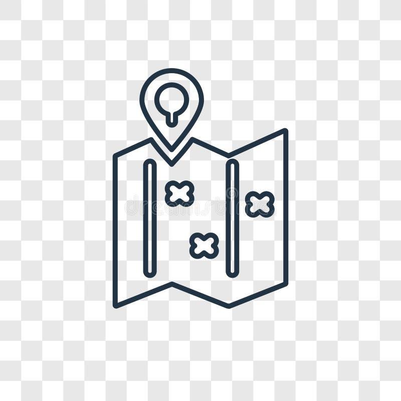 Mapa dobrado com o ícone linear do vetor do conceito do Placeholder isolado ilustração stock
