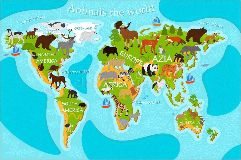 Mapa dos animais do ` s do mundo com os nomes dos continentes ilustração do vetor