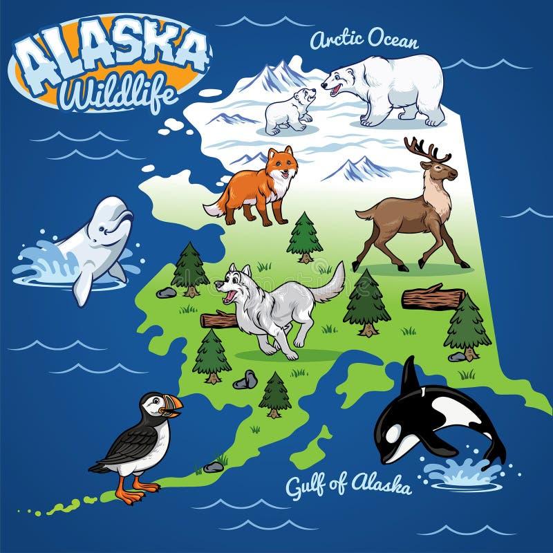 Mapa dos animais selvagens de Alaska no estilo dos desenhos animados ilustração royalty free