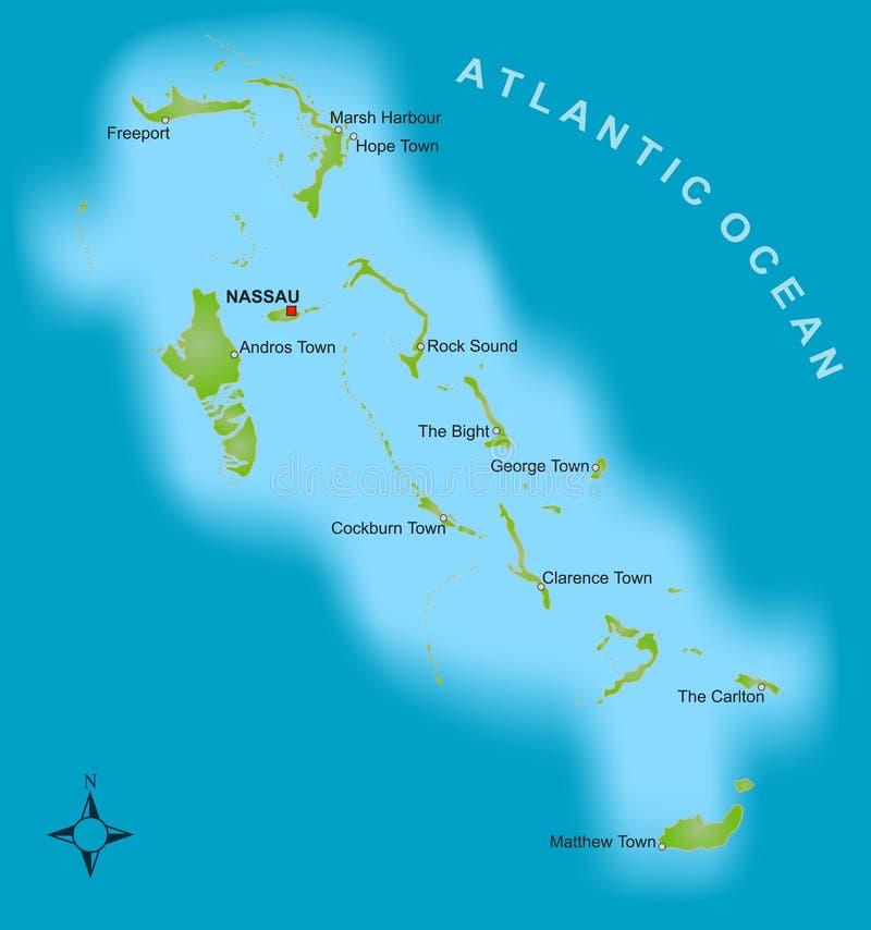 Mapa dos Bahamas ilustração stock
