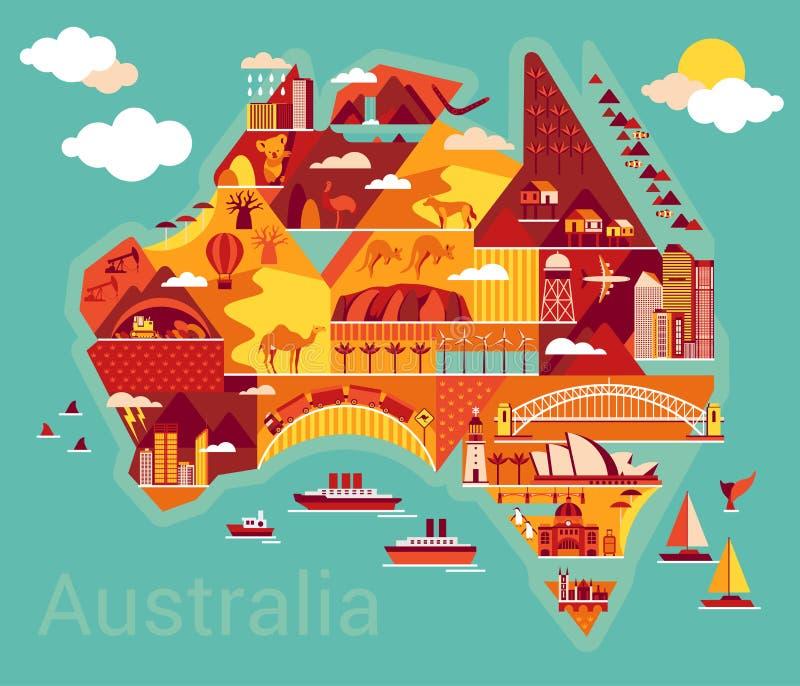 Mapa dos desenhos animados de Austrália ilustração do vetor