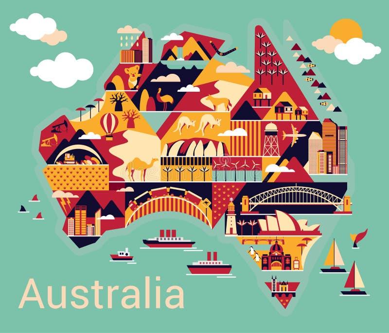 Mapa dos desenhos animados de Austrália ilustração royalty free