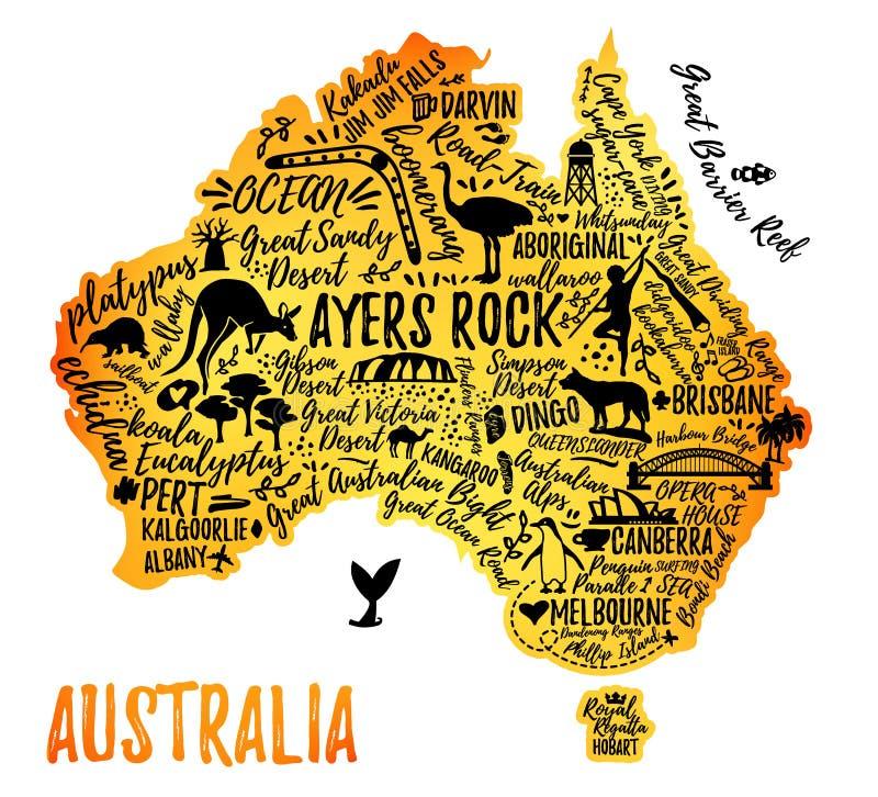 Mapa dos desenhos animados de Austrália ilustração stock