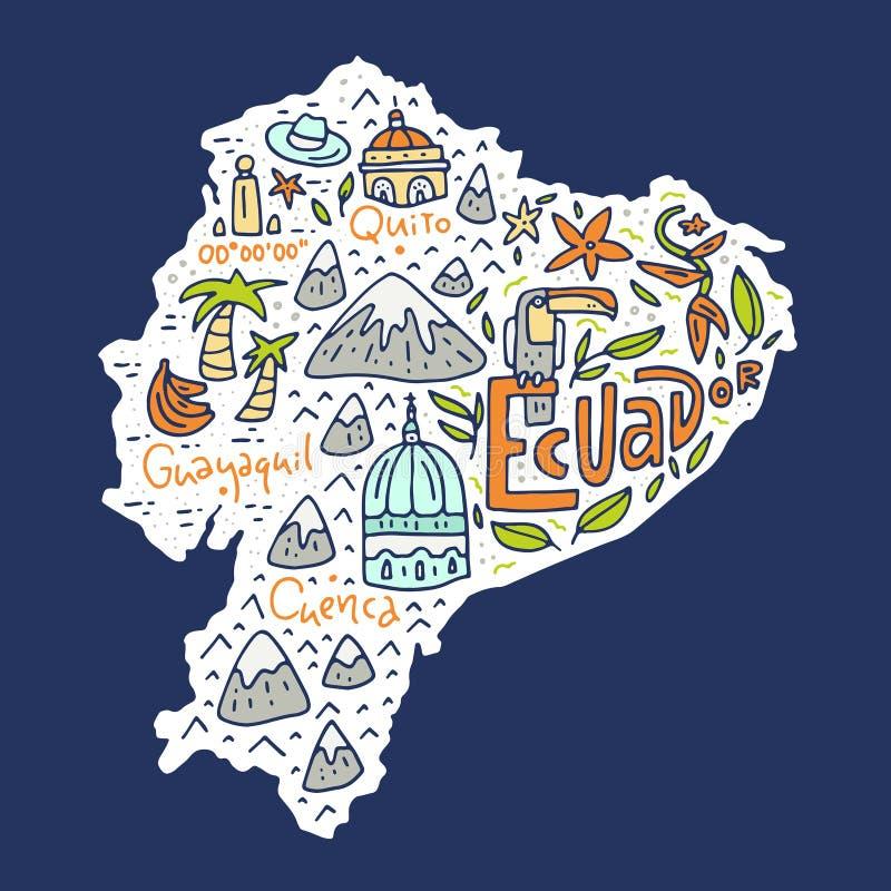 Mapa dos desenhos animados de Equador ilustração stock