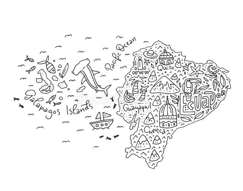 Mapa dos desenhos animados de Equador ilustração royalty free