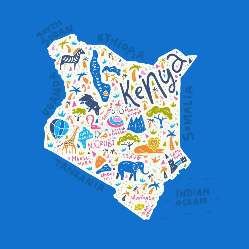 Mapa dos desenhos animados de Kenya ilustração do vetor