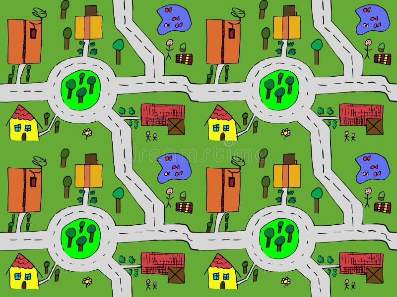 Mapa dos desenhos animados sem emenda ilustração stock