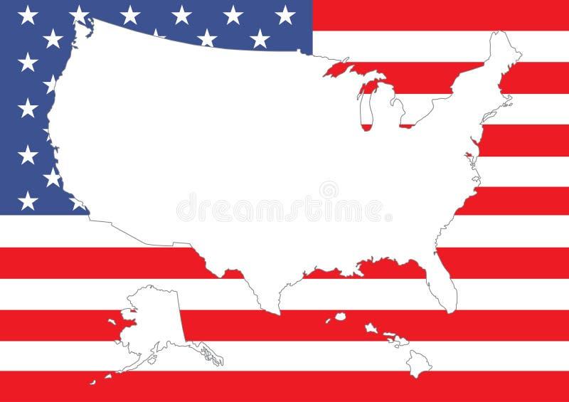 Mapa dos E.U. com bandeira ilustração do vetor