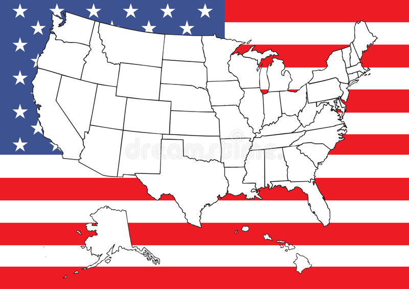 Mapa dos E.U. com bandeira ilustração stock
