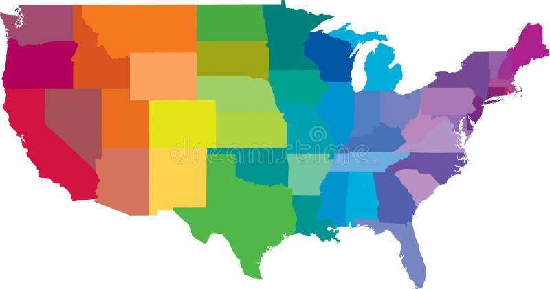 Mapa dos estados americanos ilustração do vetor