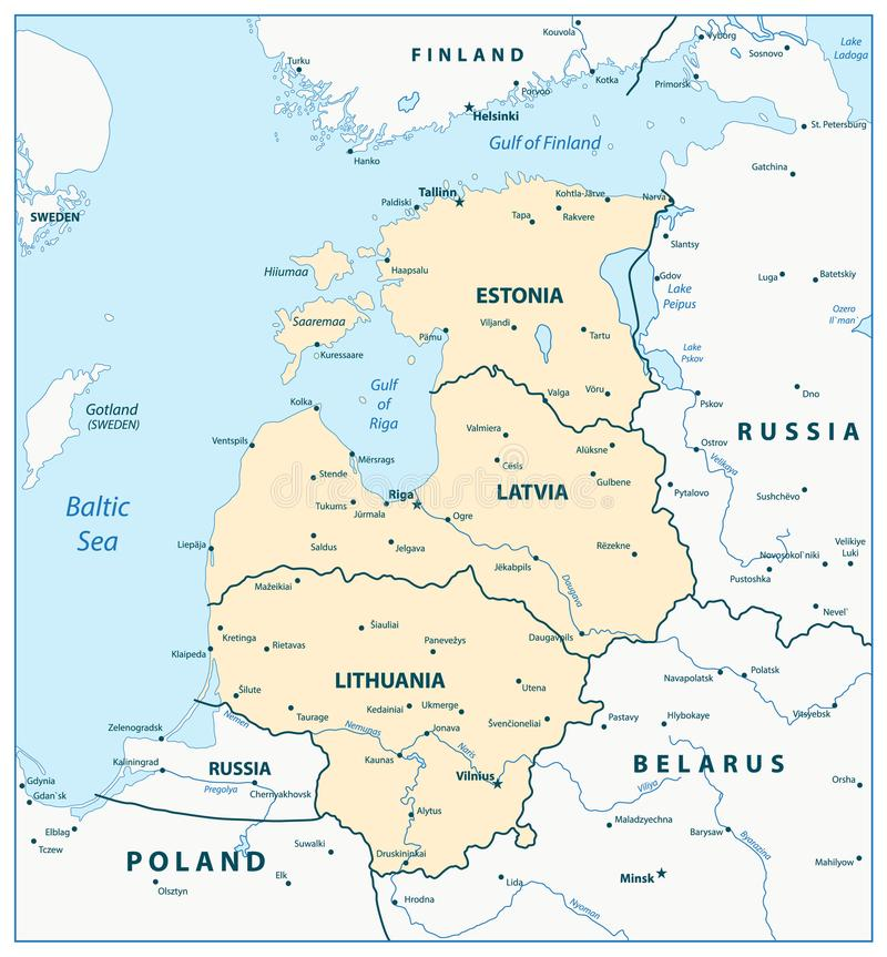Mapa dos Estados Bálticos ilustração royalty free