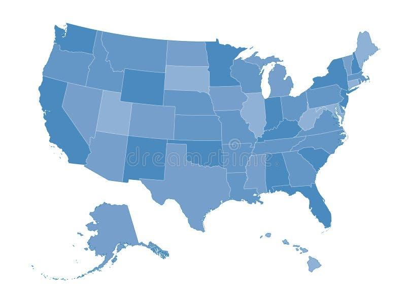 Mapa dos Estados Unidos ilustração do vetor