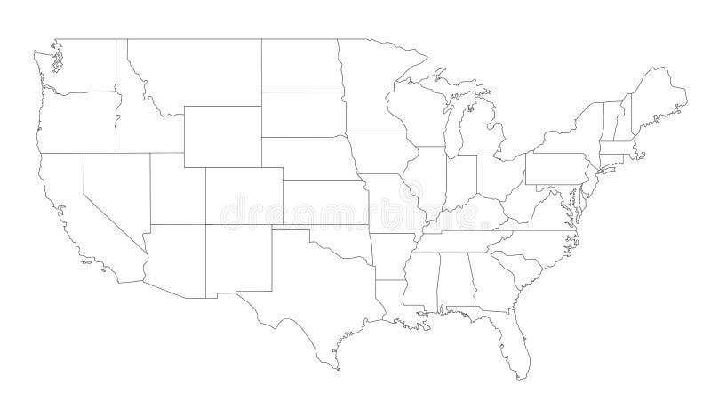 Mapa dos Estados Unidos ilustração stock
