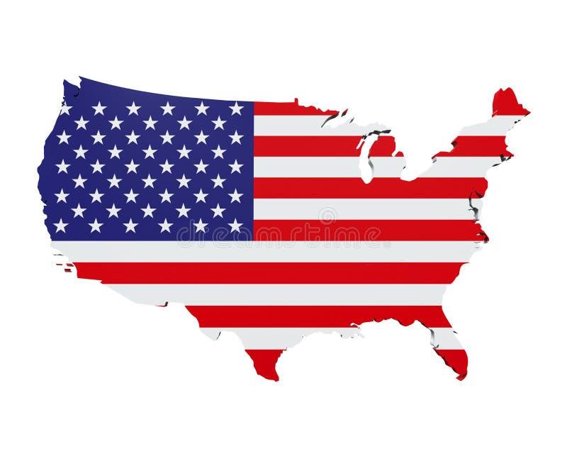 Mapa dos Estados Unidos da América ilustração do vetor