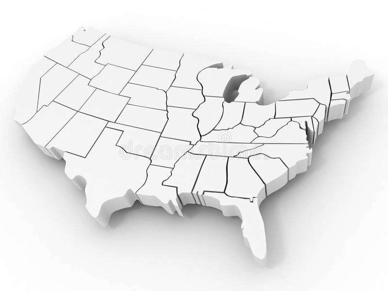 Mapa dos EUA ilustração do vetor