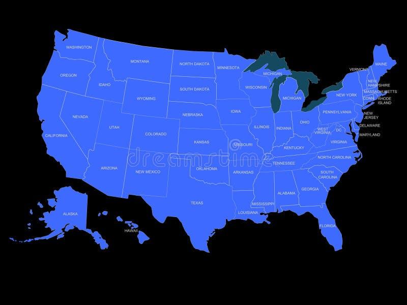 Mapa dos EUA fotografia de stock royalty free