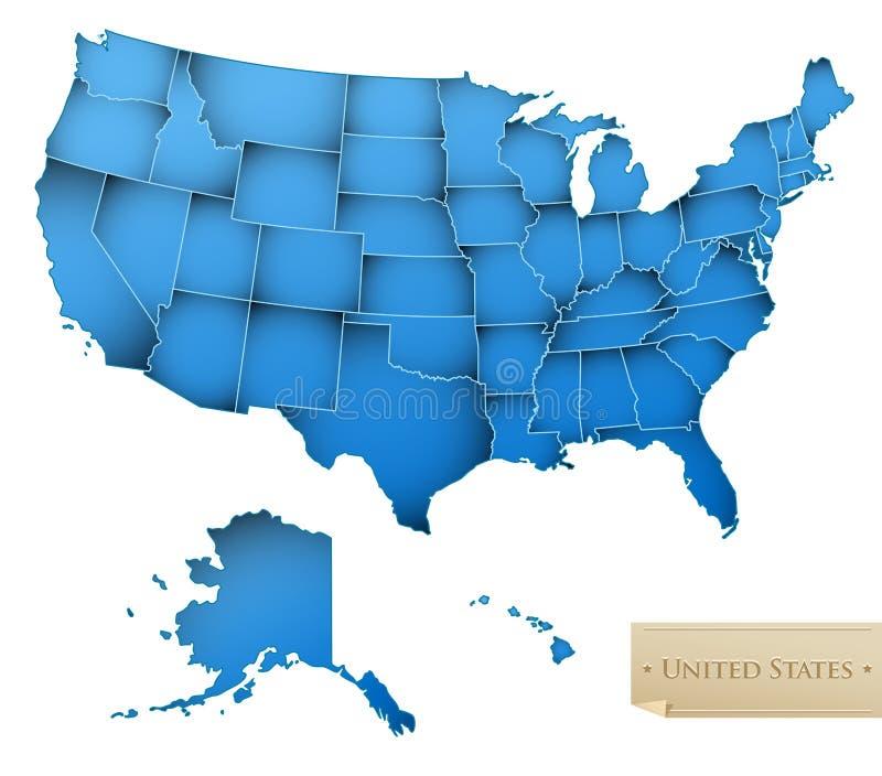 Mapa dos EUA ilustração stock