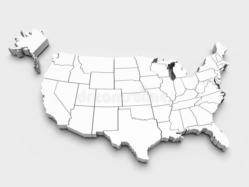 Mapa dos EUA. 3d fotografia de stock royalty free