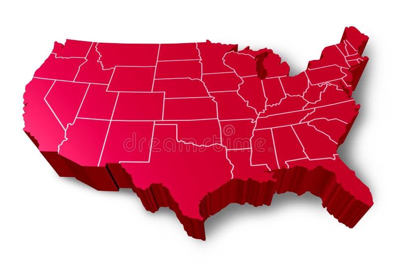 Mapa dos EUA 3D ilustração do vetor