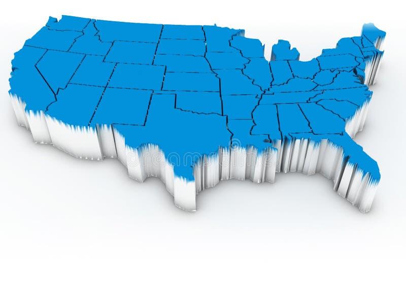 Mapa dos EUA. 3d ilustração royalty free