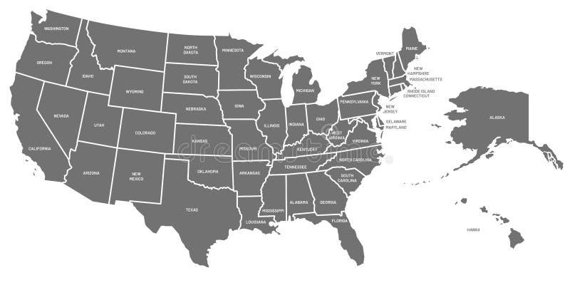 Mapa dos EUA Cartaz do Estados Unidos da Am?rica com nomes do estado Mapas americanos geogr?ficos que incluem o vetor de Alaska e ilustração royalty free