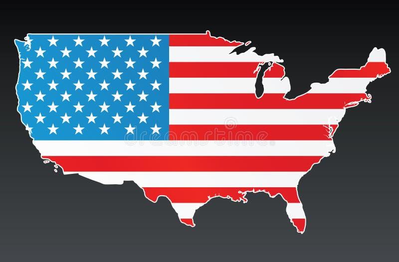 Mapa dos EUA com bandeira dos E.U. ilustração stock