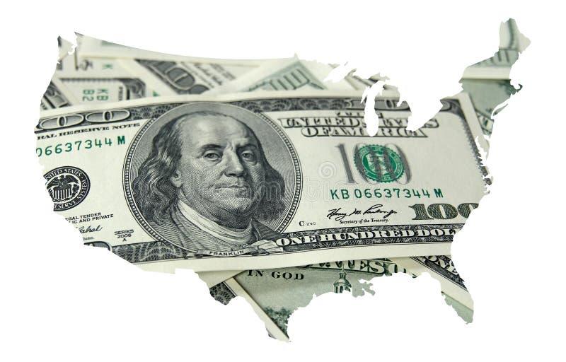 Mapa dos EUA com cem dólares de fundo fotografia de stock royalty free