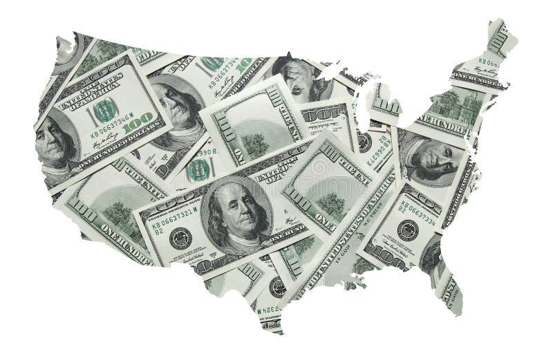 Mapa dos EUA com cem dólares de fundo ilustração stock
