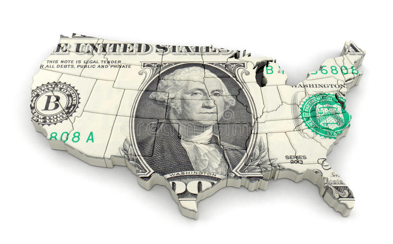 Mapa dos EUA com dólar ilustração royalty free