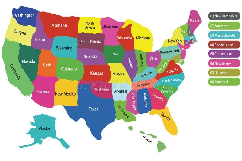Mapa dos EUA com estados ilustração stock