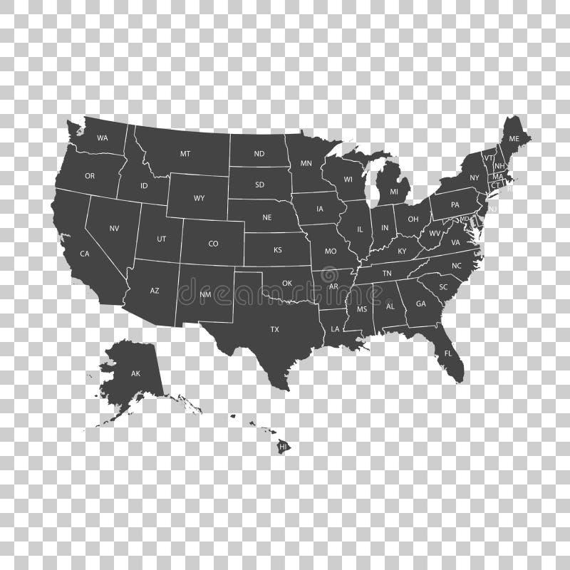 Mapa dos EUA com estados federais Ilustração Estados Unidos o do vetor ilustração royalty free