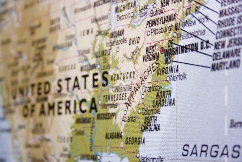 Mapa dos EUA com foco na zona oriental