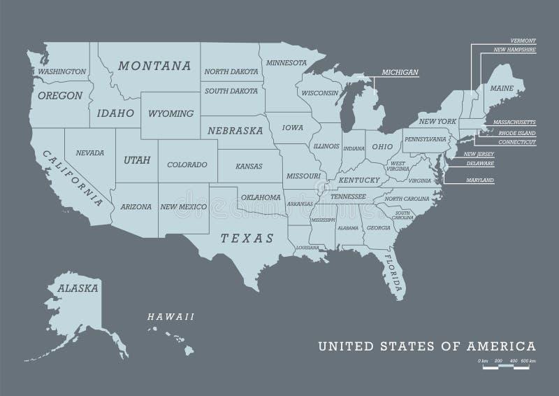 Mapa dos EUA com nome dos estados ilustração do vetor