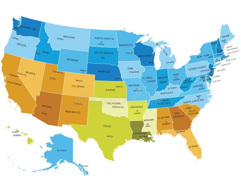 Mapa dos EUA com nomes dos estados ilustração do vetor