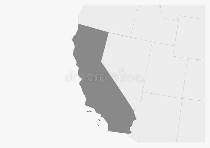 Mapa dos EUA com o mapa destacado do estado de Califórnia ilustração do vetor