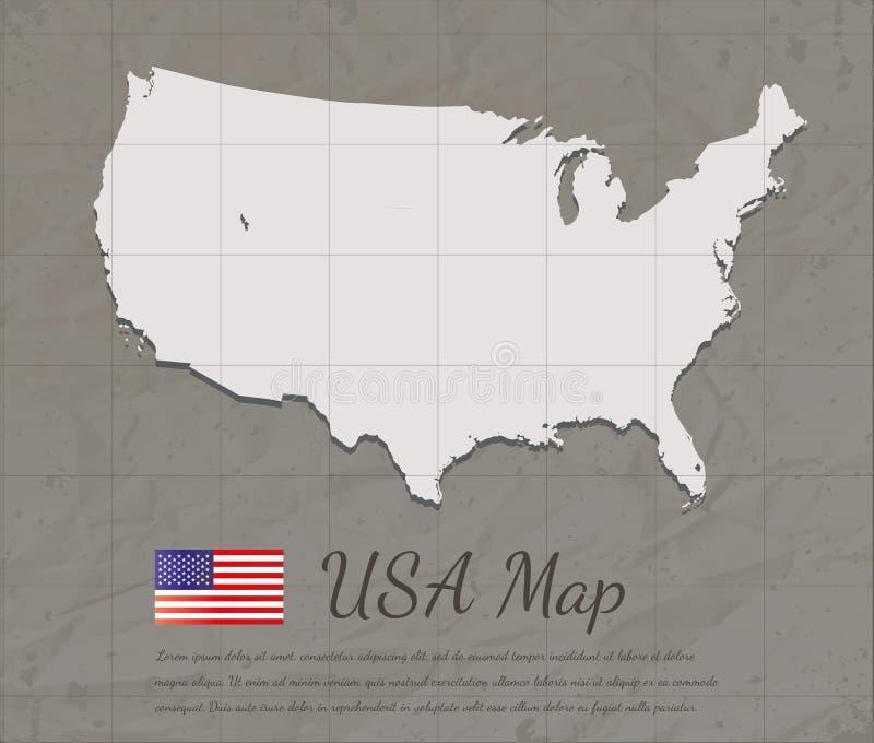 Mapa dos EUA do vintage Silhueta do mapa do cartão de papel Vetor ilustração royalty free