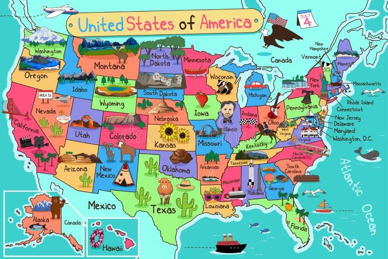 Mapa dos EUA no estilo dos desenhos animados ilustração do vetor