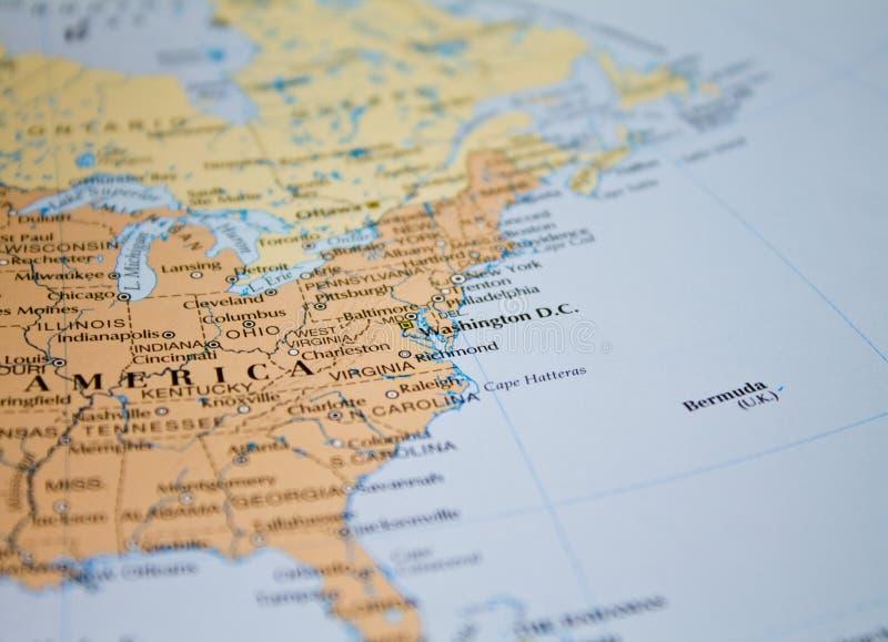 Mapa dos EUA no foco fotografia de stock