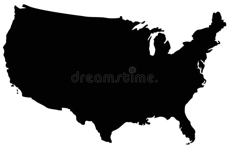 Mapa dos EUA - república federal em America do Norte ilustração do vetor