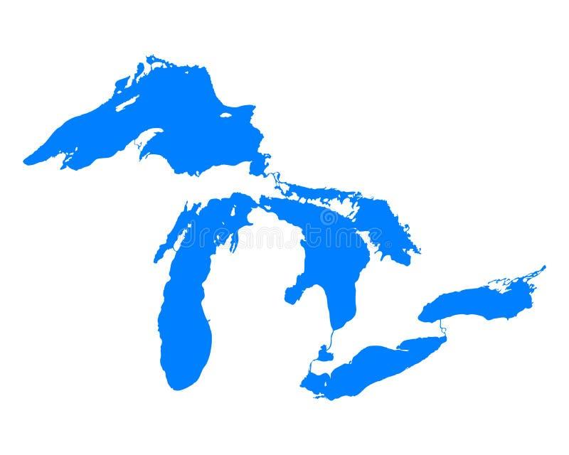Mapa dos grandes lagos ilustração do vetor