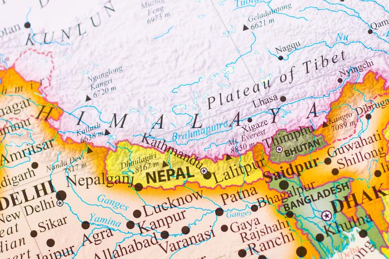 Mapa dos Himalayas foto de stock