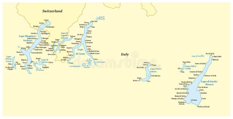 Mapa dos lagos italianos do norte ilustração stock